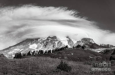Photograph - Lenticular Cloud Over Mt Rainier by Sharon Seaward