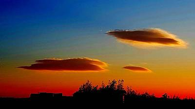 Photograph - Lenticular Clouds At Sunset by Colin Drysdale