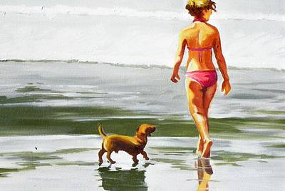Leo And Kara On The Shore Art Print by Rhondda Saunders