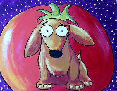 Dachshund Oil Painting - Leo And The Tomato by Rhondda Saunders
