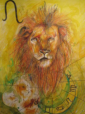 Signs Of The Zodiac Drawing - LEO by Brigitte Hintner