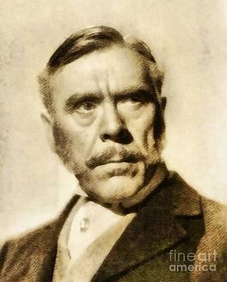 Leo Painting - Leo G. Carroll, Vintage Hollywood Actor by John Springfield