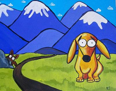 Dachshund Oil Painting - Leo Goes Hiking by Rhondda Saunders