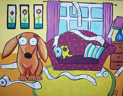 Dachshund Oil Painting - Leo Goes Nuts by Rhondda Saunders