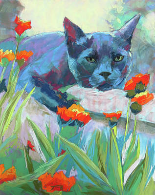 Domestic Short Hair Cat Painting - Leo In The Flowers by Sandy Lindblad