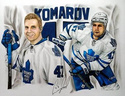 Toronto Maple Leafs Drawing - Leo Komarov Fan Art Collage Portrait by Pamela Blayney