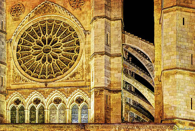 Photograph - Leon Cathedral Rose Window And Buttress- Vintage by Weston Westmoreland