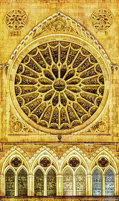 Photograph - Leon Cathedral Rose Window - Vintage by Weston Westmoreland