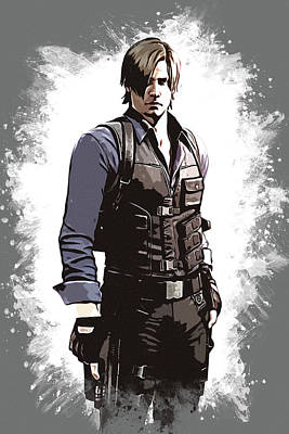 Kawaii Drawing - Leon S. Kennedy by Dusan Naumovski