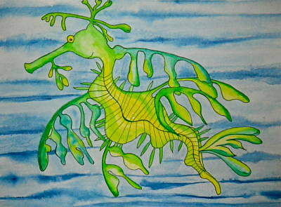 Painting - Leon The Leafy Dragonfish by Erika Swartzkopf