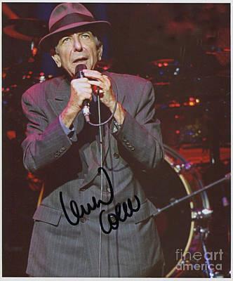 Leonard Cohen Autographed Art Print by Pd