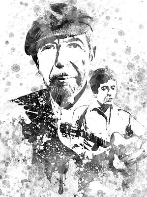 Celebrity Drawing - Leonard Cohen Black-white by Aged Pixel