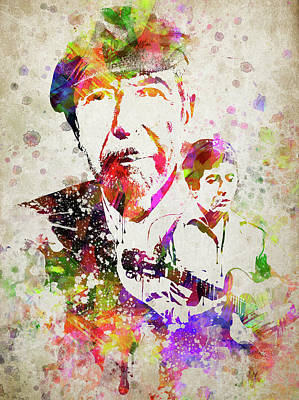 Distressed Drawing - Leonard Cohen Color by Aged Pixel
