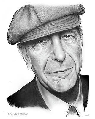 Novelist Drawing - Leonard Cohen by Greg Joens