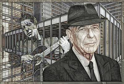 Music Royalty-Free and Rights-Managed Images - Leonard Cohen - Guitars And Windows - Version B  by Daniel Arrhakis