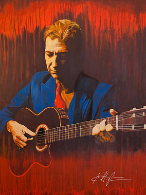 Blues Guitar Painting - Leonard Cohen by Karl Melton
