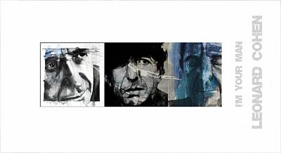 Portrait Mixed Media - Leonard Cohen Triptych by Paul Lovering