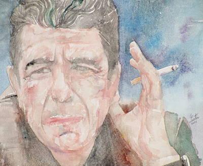 Painting - Leonard Cohen - Watercolor Portrait.1 by Fabrizio Cassetta