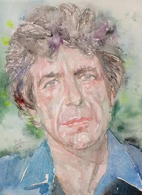 Painting - Leonard Cohen - Watercolor Portrait.2 by Fabrizio Cassetta