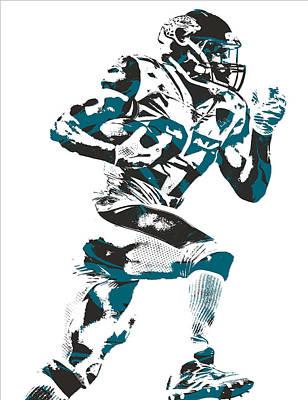 Mixed Media - Leonard Fournette Jacksonville Jaguars Pixel Art 11 by Joe Hamilton