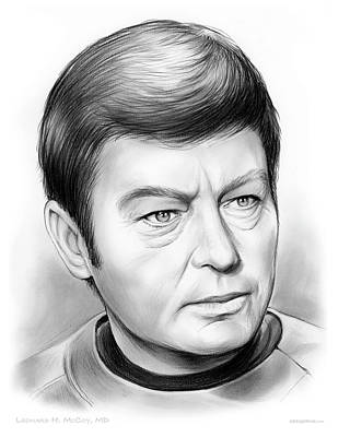 Enterprise Drawing - Leonard Mccoy by Greg Joens