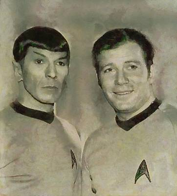 Leonard Nimoy And William Shatner, Star Trek Vintage Art Print