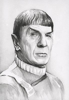 Leonard Nimoy As Spock Print by Olga Shvartsur