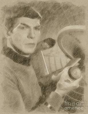 Fantasy Drawings - Leonard Nimoy as Spock, Star Trek Vintage by Frank Falcon