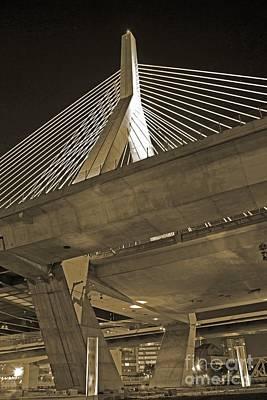 Photograph - Leonard P. Zakim Bunker Hill Bridge In Sepia by Michael Tidwell