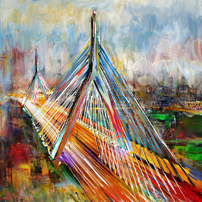 Painting - Leonard P. Zakim Bunker Hill Memorial Bridge 219 1 by Mawra Tahreem
