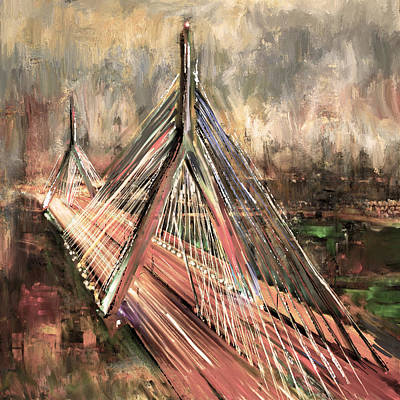 Painting - Leonard P. Zakim Bunker Hill Memorial Bridge 219 3 by Mawra Tahreem