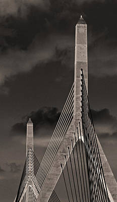 Photograph - Leonard P Zakim Bunker Hill Memorial Bridge Boston by Phil Cardamone