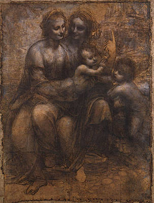 Leonardo Da Vinci Cartoon Of The Virgin And Child With St Anne And St John Art Print