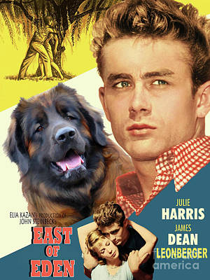 Painting - Leonberger Art Canvas Print - East Of Eden Movie Poster by Sandra Sij