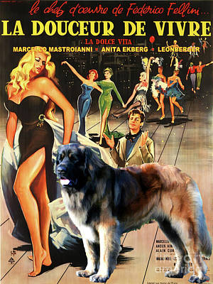 Painting - Leonberger Art Canvas Print - La Dolce Vita Movie Poster by Sandra Sij