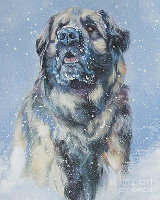 Leonberger In Snow Art Print by Lee Ann Shepard