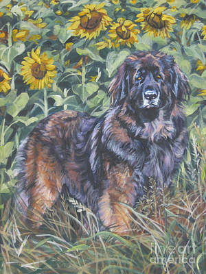 Leonberger In Sunflowers Print by Lee Ann Shepard
