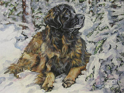 Dogs In Snow Painting - Leonberger In The Snow by Lee Ann Shepard