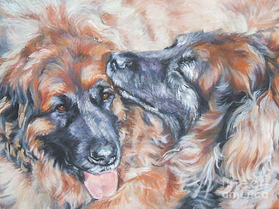 L.a.shepard Painting - Leonberger Pair by Lee Ann Shepard