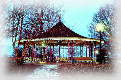 Photograph - Leone Riverside Park Pavilion Christmas Card by Bill Swartwout