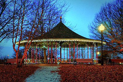 Photograph - Leone Riverside Park Pavilion Christmas Lights by Bill Swartwout Fine Art Photography