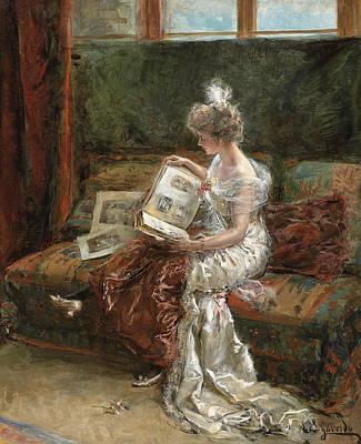 Leonie Garrido Looking At An Album Of Prints Art Print by Eduardo Leon Garrido