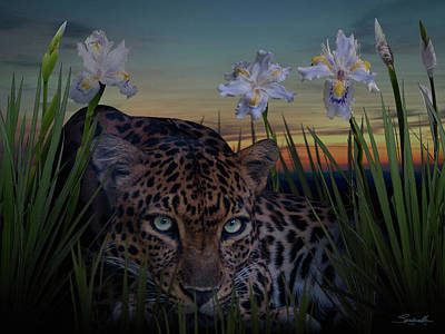 Digital Art - Leopard And African Irises by IM Spadecaller