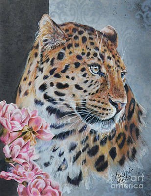 Painting - Leopard And Roses by Lachri