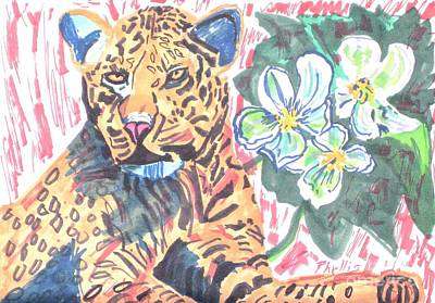 Painting - Leopard And Skeleton Flower by Phyllis Kaltenbach