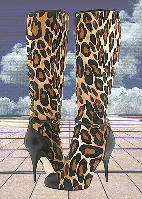 Stilettos Painting - Leopard Boots With Ankle Straps by Elaine Plesser