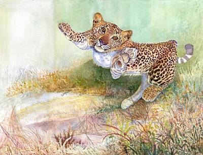 Sri Lankan Artist Painting - Leopard Cub by Sasitha Weerasinghe