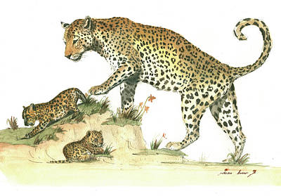 Leopard Wall Art - Painting - Leopard Family by Juan Bosco