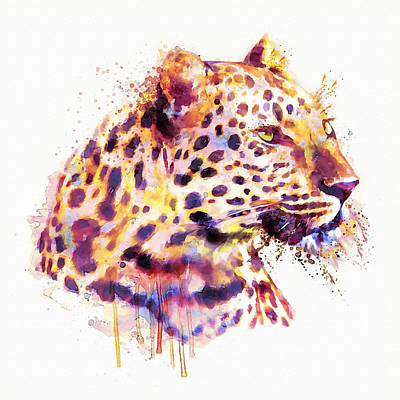 Mixed Media - Leopard Head by Marian Voicu