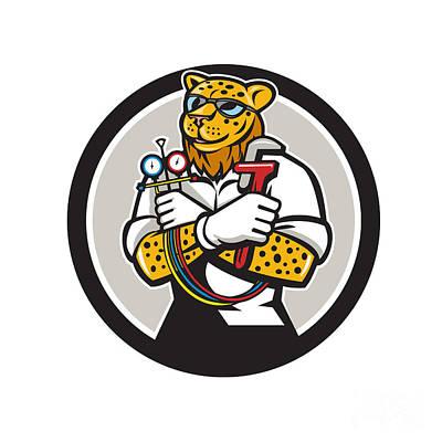 Cheetah Digital Art - Leopard Heating Specialist Mechanic Circle Cartoon by Aloysius Patrimonio
